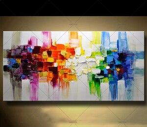 Image 1 - Kerst Abstracte Moderne Landschap Handgemaakte Kleurrijke Abstracte Stijl Dikke Olieverf Op Canvas Voor Home Decoratieve Wall Art