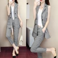Sleeveless suit vest suit female 2019 summer new Korean fashion temperament nine pants lattice Slim two piece spring trend