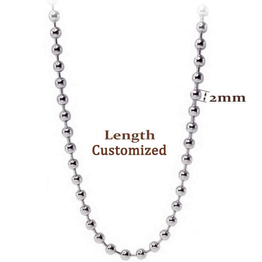 2mm Stainless Steel Silver Ball Beads Chain For Men Necklace Bracelet Keychain Trinket Dog Tag Jewelry Making Accessories