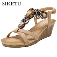 SIKETU 2017 New National Style Sandals Women Bohemian Beads Beaded Comfortable Buckle Wedges Woemn Shoes