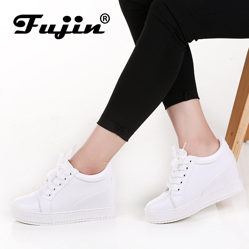 Fujin 2018 Summer Spring Autumn Women's Genuine Leather Platform Female Shoes Wedges Lady Casual Shoes Mesh Lace Pumps Sneakers