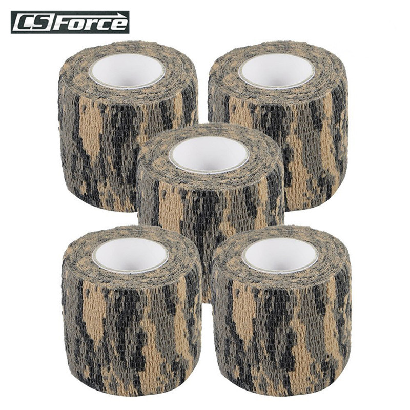 CS Force 5 Roll Camouflage Tape Self-adhesive Wrap Military Camo Stretch Bandage For Gun Rifle Camping Hunting Equipment