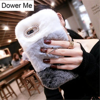 Dower Me Super Luxury Gradient Color Warm Real Rex Rabbit Fur Case Cover With Ring Grip