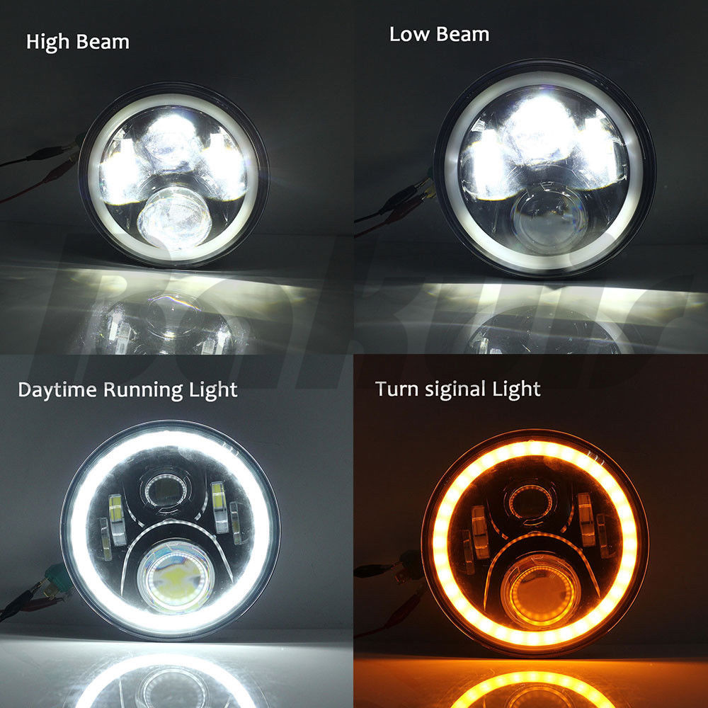For Lada 4x4 urban Niva 7inch LED Halo Headlights 7 LED Headlight H4 Hi/low Headlight With Angle Eye For uaz4x4 Jungle hunter 7inch led halo headlights kit 7 led headlight h4 hi low auto headlight with angle eye for jeep harley lada niva toyota uaz 4x4
