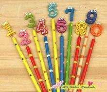 40 adet/grup yeni sevimli numarası ahşap kalemler ofis ve çalışma kalemler hediye çocuklar için kırtasiye
