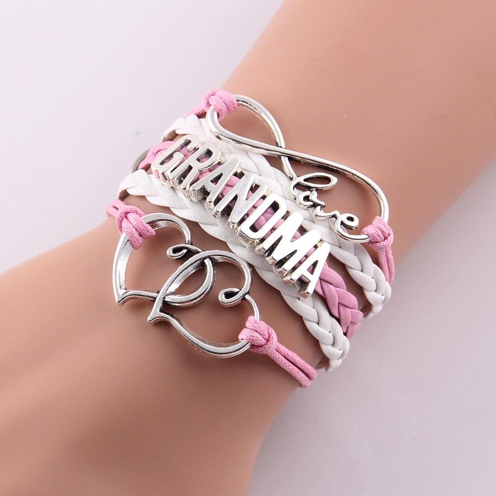 Little MingLou Infinity love grandma bracelet heart feet charm Bracelet for women wrap braid leather bracelets & bangles jewelry 1