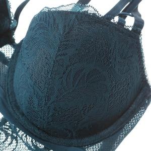 Image 3 - תחרה בגד גוף נשים מרופד חזיית נוצת דפוס Underwire Lingere femme לדחוף את מלכת 3 צבעים סקסי ערכות הלבשה תחתונה ארוטית דובונים