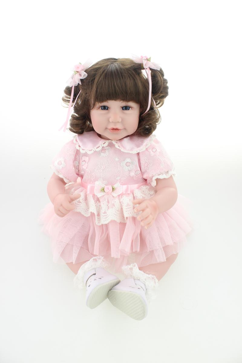 52cm Soft Vinyl Reborn Baby Doll Handmade Clothes curled hair Little Girl doll Brinquedos Early Education Toy Doll pink wool coat doll clothes with belt for 18 american girl doll