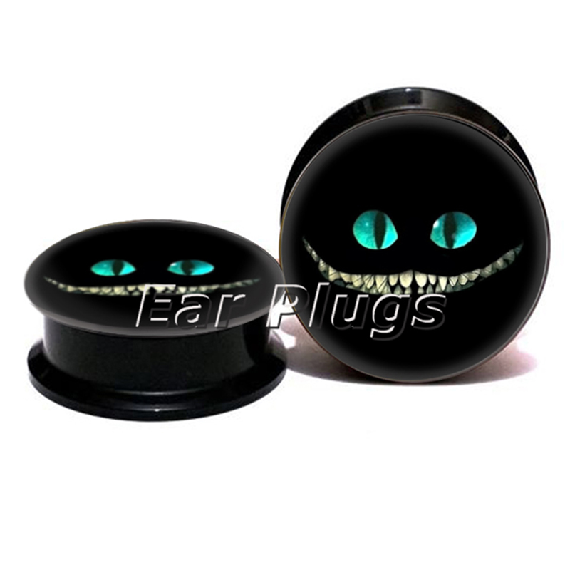 Wholesale cheshire cat plug gauges acrylic screw ear plug flesh tunnel piercing body jewelry ASP0773