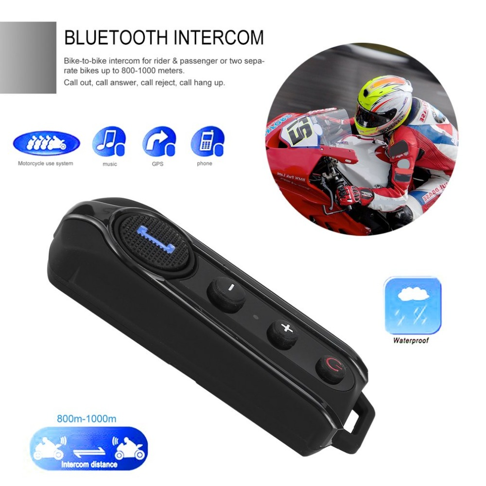 BT-S1 Motorcycle BT Interphone 1000M Motorbike Helmet Wireless Bluetooth Intercom FM Headset Portable Mini Interphone