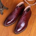 Los hombres de moda del tobillo de la vendimia de herramientas martin botas brogue cuero genuino zapatos transpirable tallada bullock ata para arriba calzado confort