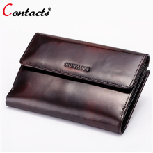 CONTACT'S Genuine Leather Men Wallets Real Handmade Brush coin Purse Male Clutch Card Holder design famous brand 2017 top sale