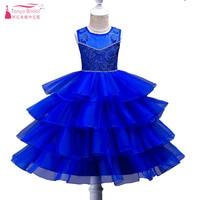Prachtige Royal Blauwe Bloem Meisjes Jurken Sheer Hals 4 Layer Ruches Mooie Kinderen Brithday Partij Jassen Cumunion Jurk ZF032