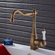 Высокое качество бронзовый закончил Кухонный кран латунь кран горячей и холодной раковина кран водопроводной Воды кухня раковина кран смесителя