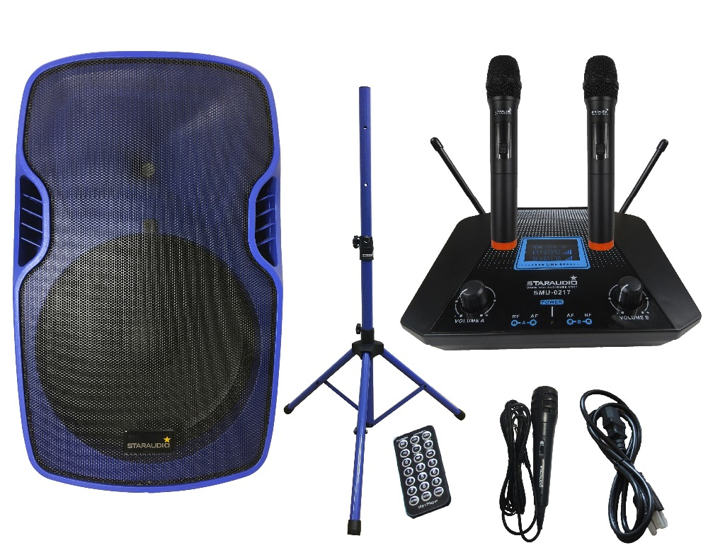 STARAUDIO Blue 15 3500W Power Active PA DJ Stage KTV Speaker with 2CH UHF Wireless Mics 1 Stand 1 Wired Mic SSBM-15RGB