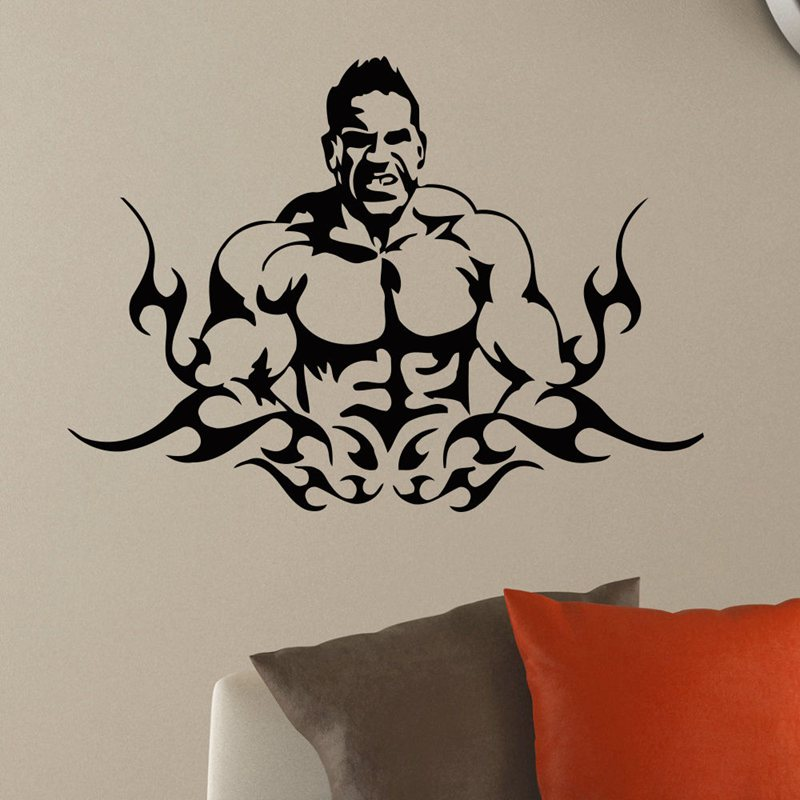 Gym Sticker font b Fitness b font Decal font b Bodybuilding b font Posters Name Barbell