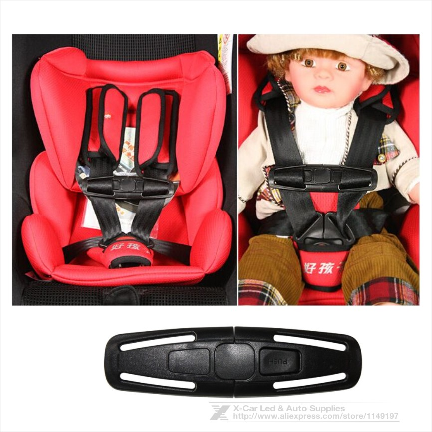 New Arrival Nylon Car Baby Child Safety Seat Strap Belt Adjuster Child Toddler Harness Chest Clip Buckle Black