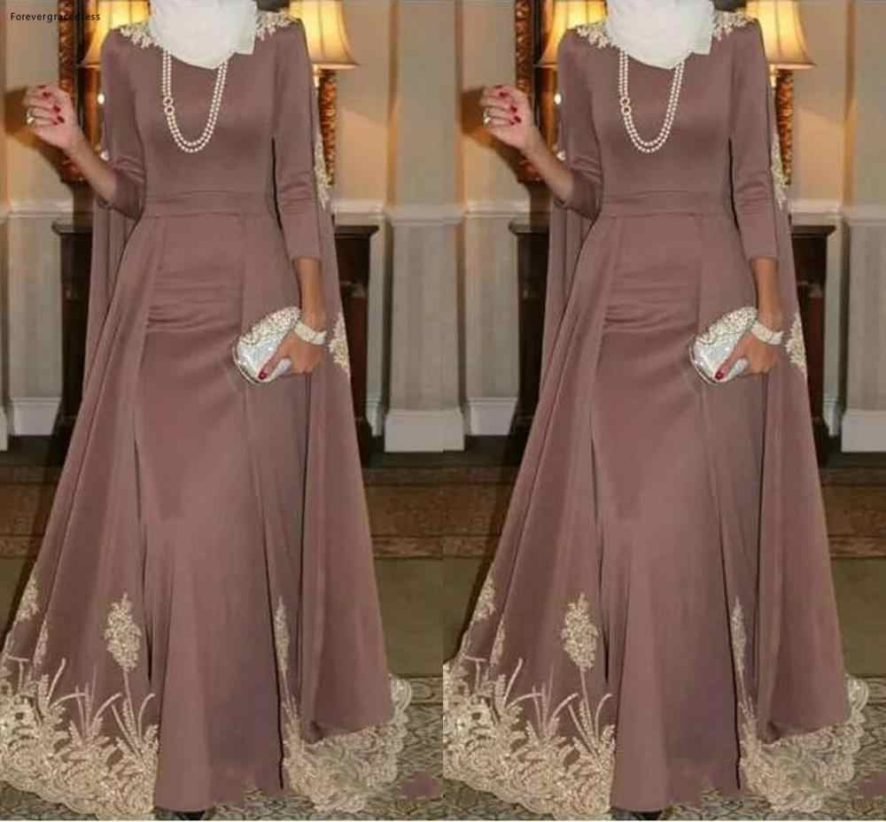 2019 Moslim Hoge Hals Avondjurk A Line Gold Applique Holiday Wear Pageant Prom Party Gown Custom Made Plus Size
