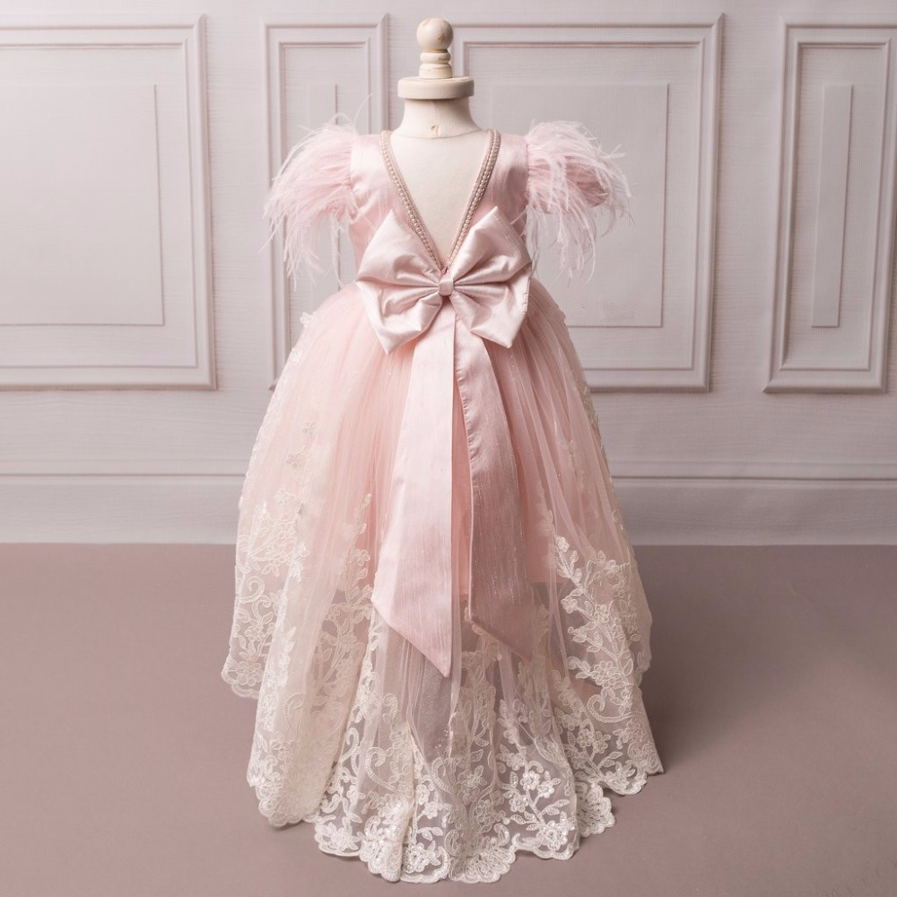2017 New Hot Pink Feather Ball Gown Flower Girl Dresses First Communion Dresses For Girls vestidos