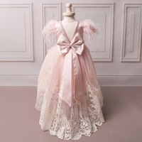 New Hot Pink Feather Ball Gown Flower Girl Dresses First Communion Dresses For Girls vestidos de comunion Princess Dresses