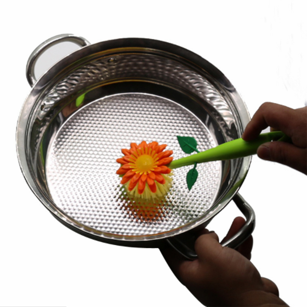 Multi-function Sunflower Kitchen Cleaning Brush Plastic Household Kitchen Bowl Plate Pan Pot Brush Cleaning Tool Accessories
