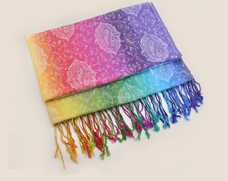 Rainbow Jacquard Pashmina Scarf | Pashmina Scarves | Up to 60% Off Now