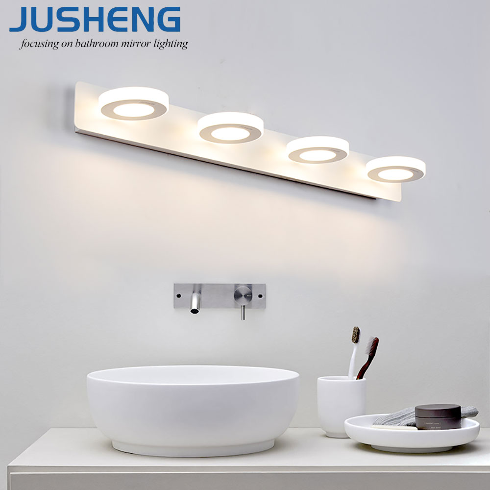 JUSHENG Indoor 12W LED Wall Lamps For Bathroom Wall Lighting Lamps To Mirror led Lights 65cm AC220V/110V modern acryl aluminum 4 heads led 12w mirror lamps for bathroom aisle 65cm waterproof ip65 anti fog indoor wall lamps 1184