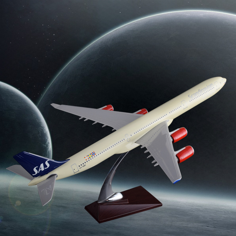 47cm Resin SAS Northern Europe Airlines Plane Model Airbus A340 Scandinan Airplane Model International Airways Aircraft Model spike wings xx4391 jc china eastern airlines b 5902 a330 200 green 1 400 commercial jetliners plane model hobby