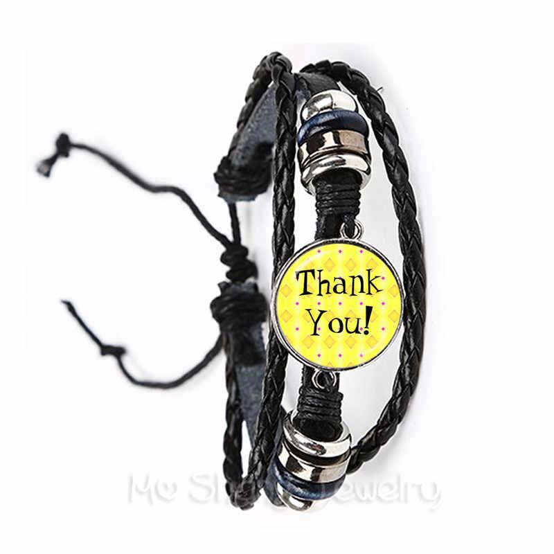 Terima Kasih Guru Cincin 16 Mm Kaca Cabochon Merci Maitresse Kubah Kaca Buatan Tangan Perhiasan Cincin untuk Terima Kasih Hadiah