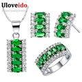 Uloveido 45% de plata plateado joyería de la boda para las mujeres novias collar de juego de anillos aretes bijoux kits de mariage femmes t499