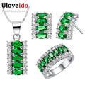 Uloveido 45% off banhado a prata conjunto de jóias de casamento para as mulheres noivas conjunto de colar brincos anel bijoux kits mariage femmes t499