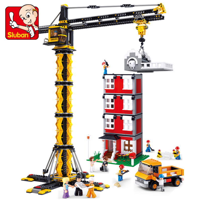 цена на Sluban Building Block City Town Construction Heavy Engineering Tower Crane 1461pcs Educational Bricks Toy Boy