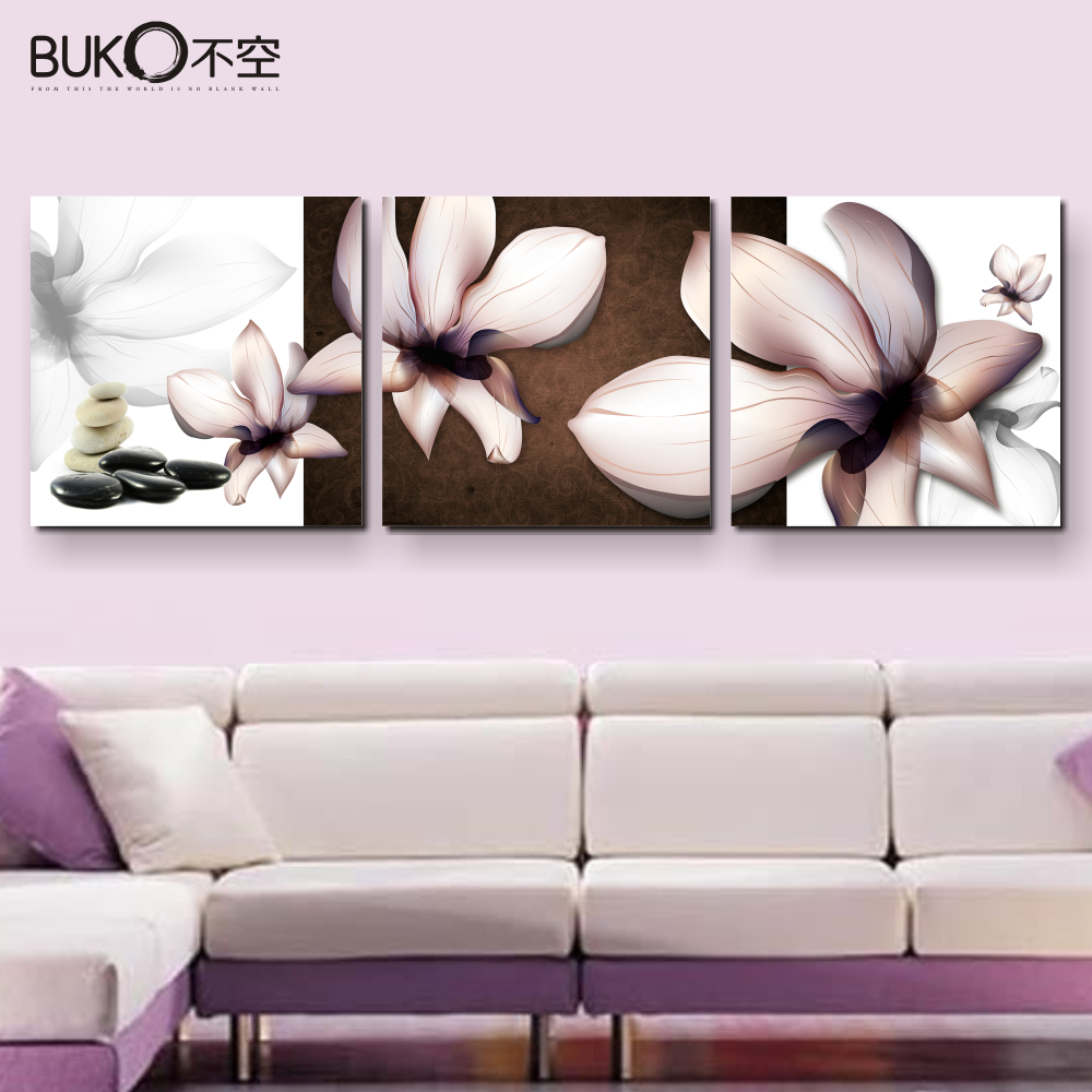 Buko 3 panel orchid wall art canvas painting living room for Wall poster for living room
