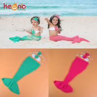 Keenomommy Crochet Baby Girl Mermaid Costume Set Princess Newborn Mermaid Tail Photo Props Outfit Baby Shower