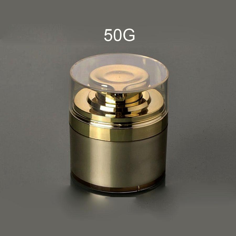 50g brezzračna Jar-zlata barva s prozornim pokrovčkom iz zlata s pokrovčkom iz zlata s stisnjeno zlato črpalko 100pcs / lot