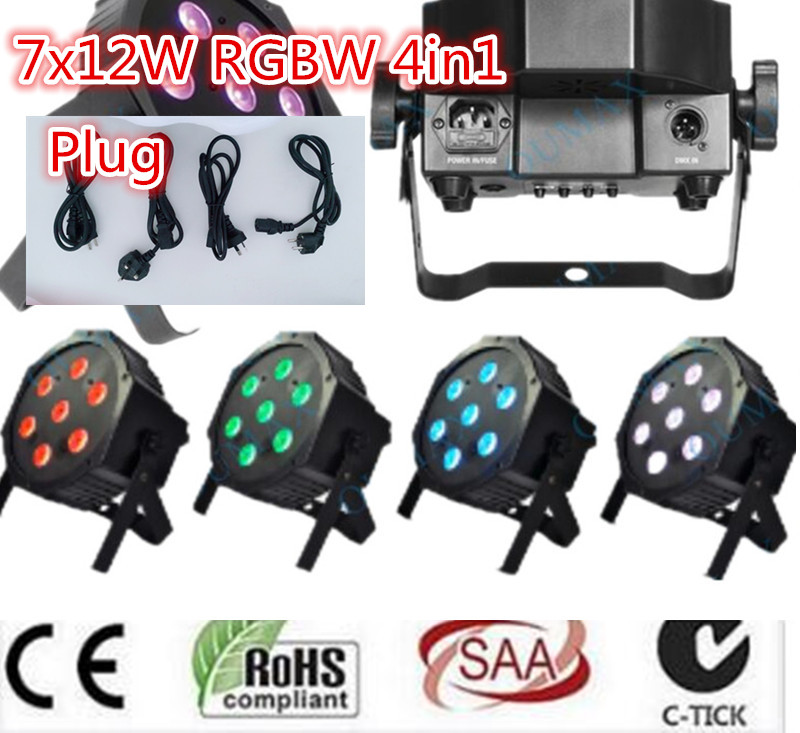 7x12W LED Flat SlimPar Quad Light 4in1 LED DJ dmx light Wash Light Stage Uplighting No Noise dmx dj light 4pcs/lot