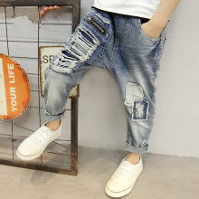 Children's clothing 2017 autumn boys hole jeans boy pencil pants spring kids casual outdoor leggings baby kids denim trousers