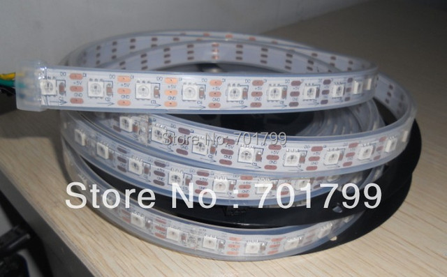 5m WS2811 LED digital strip,64leds/m with 64pcs WS2811 built-in the 5050 smd rgb led chip.waterproof in tube,DC5V input