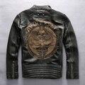 Avirexfly черепа кожаная куртка мотоцикла мужчины тонкий установлены кожаные байкерские куртки для моды для мужчин кожаная куртка мужчины гравировка XXL