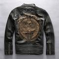 Avirexfly cráneos de cuero chaqueta de la motocicleta de los hombres delgado equipada chaqueta de motociclista de cuero para hombres hombres de la chaqueta de cuero de moda grabado XXL