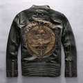 Avirexfly skulls leather motorcycle jacket men slim fitted leather biker jacket for men fashion leather jacket men engraving XXL