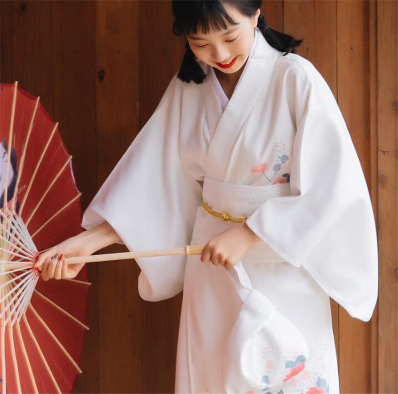 V-neck Kimono Outer Garment Traditional Bathrobe Costume Girl Long Dress Japanese Kimono Woman Party Flower Clothing