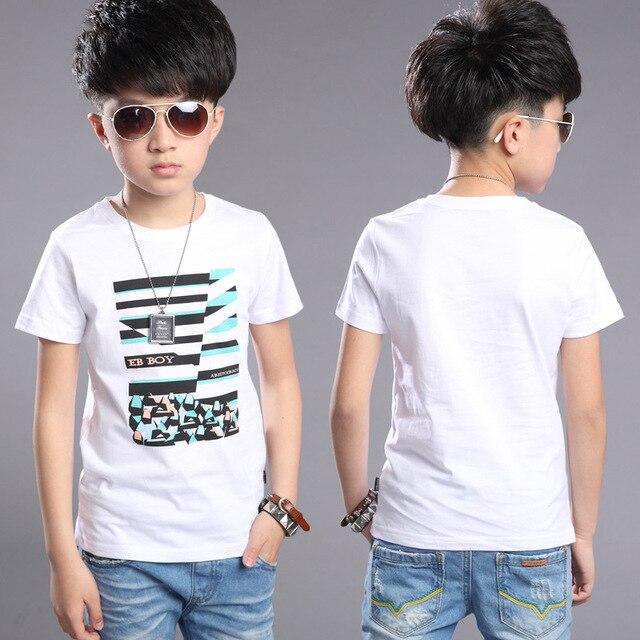 Summer Wear Boys Cotton Korean Printed Fashion Children's T-shirts Short Sleeves Kids Clothing White Green Red