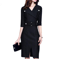European Large Size Women S Dresses 2017 Spring Autumn Winter New Half Sleeve Hight Waist Stripes
