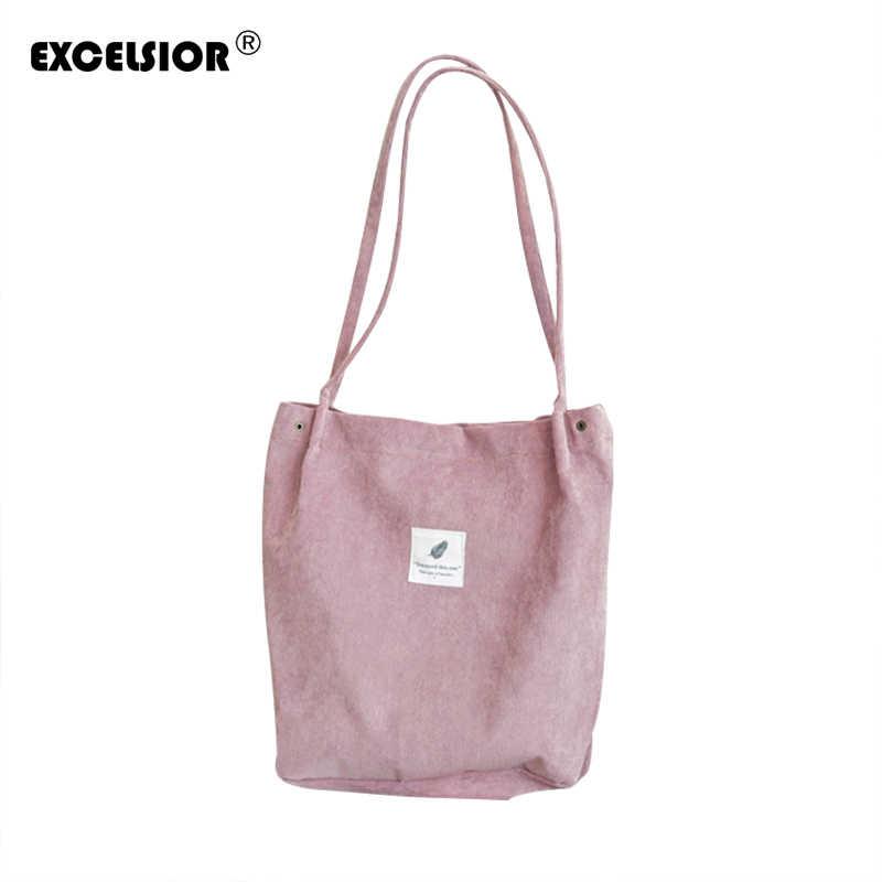 c42434f7496a EXCELSIOR Вельветовые женские сумки Цветочный Большой ёмкость Tote Холст сумки  Сумка для покупок, пляжа повседневное