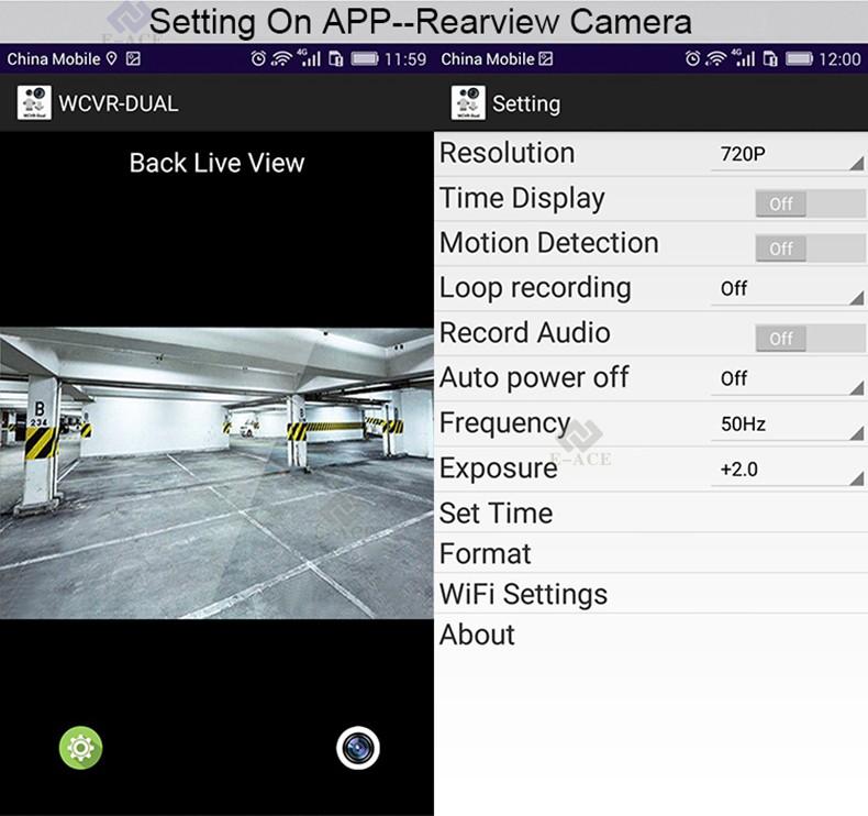 E-ACE Car Dvr WIFI DVRs Dual Camera Lens Registrator Dashcam Digital Video Recorder Camcorder Full HD 1080P 30FPS Night Version 18