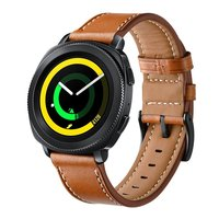 LEONIDAS Genuine Leather Band For Samsung Gear Sport Band Metal Closure Clasp Quick Releast Strap For