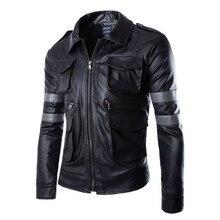 Горячая Biohazard Игры Resident Evil 6 Леон Куртка Господа Мотоцикл Верхняя Одежда Кавалер Мужчины PU Кожаная Куртка Человек Пальто(China (Mainland))