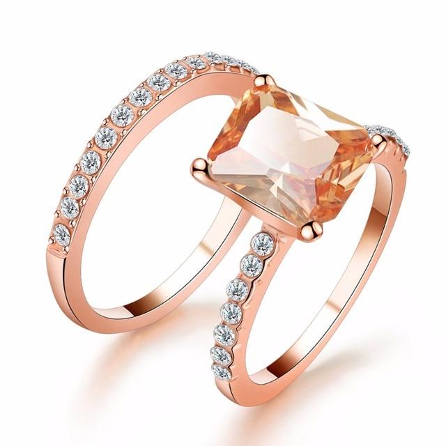 dfe0731d59ec 2 piezas anillo Set Color oro rosa lleno de cristal blanco de boda anillo de