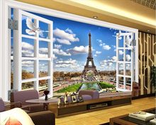 customize 3 d wallpaper for walls mural wallpaper Eiffel Tower 3D Wallpaper bedroom living room roll wall papers home decor(China)